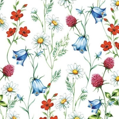"Servilleta M105 ""Mixed Wild Flowers White"""